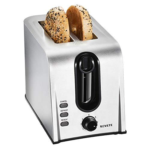 Toaster 2 Slice Best Rated Prime, NOVETE Retro Style Brushed Stainless Steel Toaster, 1.5'' Extra-Wide Slot, 7 Shade Settings, Defrost/Reheat/Cancel Functions, Compact Bread Toaster for Breads/Bageles