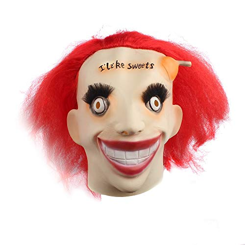 FOOING Halloween Clown Funny Mask Vampire Zombie Horror Scary Costume Party Decorations Lollipop Mask with red -