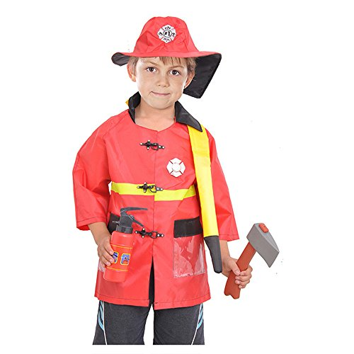 Fireman Fancy Dress Firefighter Costume Cosplay Playset for Halloween Party Occupational Children Role play Clothing S:37-43 (Costume Role Playset)