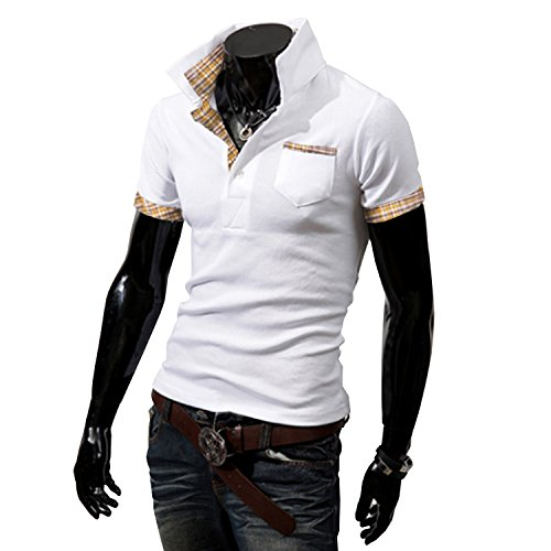 AMBLY メンズ ポロシャツ poloシャツ 半袖 チェック スキッパー スポーツ ゴルフ ゴルフウェア コーデ 黒 紺 春 夏 秋