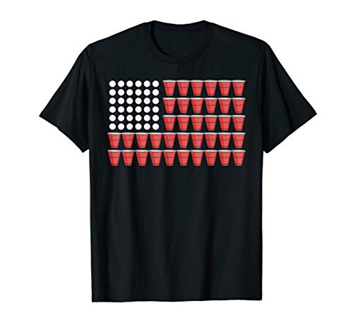 Beer Pong American Flag Shirt 4th Of July Fourth Party ()