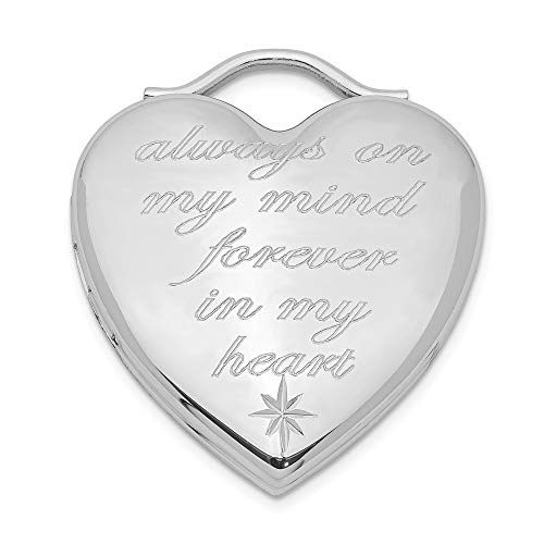 925 Sterling Silver Always On My Mind Forever In Heart Photo Pendant Charm Locket Chain Necklace That Holds Pictures Religious Cross Fine Jewelry Gifts For Women For Her (Forever In My Heart Lockets And Charms)