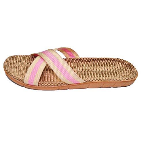 Floor Sandals House Flip Flops Beach HRFEER for Slippers Slipper Women Pink Linen Silent Shoes Women Men dIq7qwO