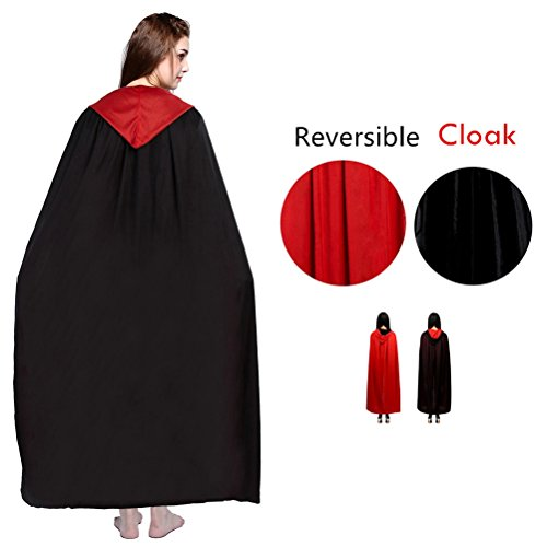 Halloween Cloak Double-faced Hooded Costumes Black Red Goth Demon Robe Party Cape for Women Adults