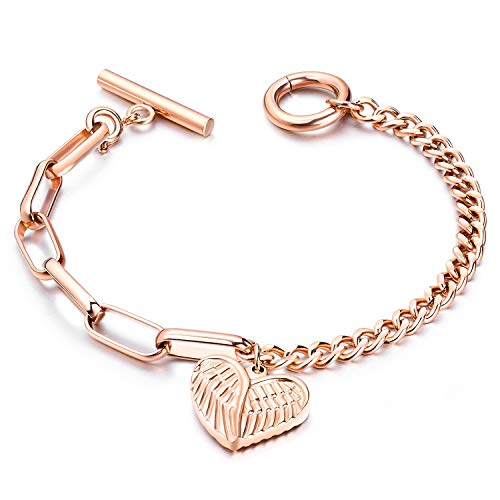 Jakob Miller Women Girls Rose Gold Tone Bracelet Stainless Steel Heart Angle Wing Charms Link Bracelet with Toggle Clasp