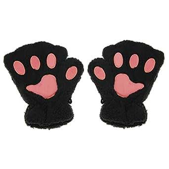APAS Women Winter Fluffy Bear Cat Plush Paw Claw Glove