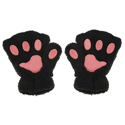 Apas Women Winter Fluffy Bear Cat Plush Paw Claw Glove Half Finger Cute Gloves Mittens Black