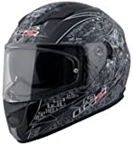 Ls2 320 Full Face Dual Helmet Outer Clear Visor Inner Tinted Googles (L - 57 - 59 Cms, Black With White)