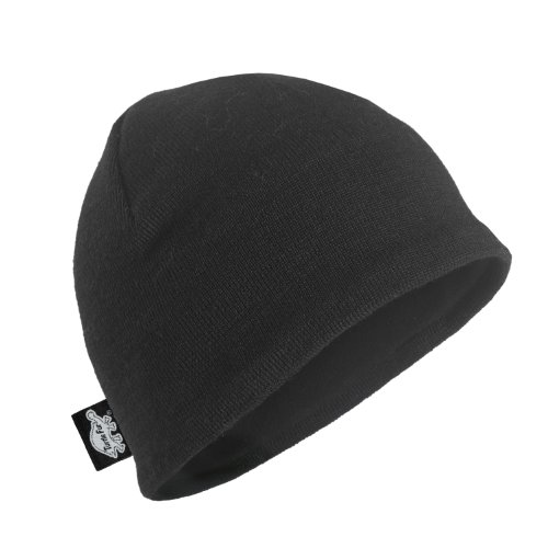 Acrylic Solid Knit Beanies (Turtle Fur Merino Solid Beanie, Black, One Size)