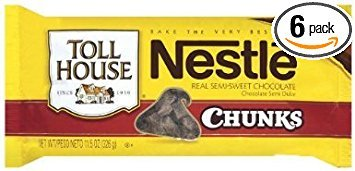 Nestle, Toll House, Semi Sweet, Chocolate Chunk Morsels, 11.5oz Bag (Pack of 6) (Nestle Chocolate Cookies)