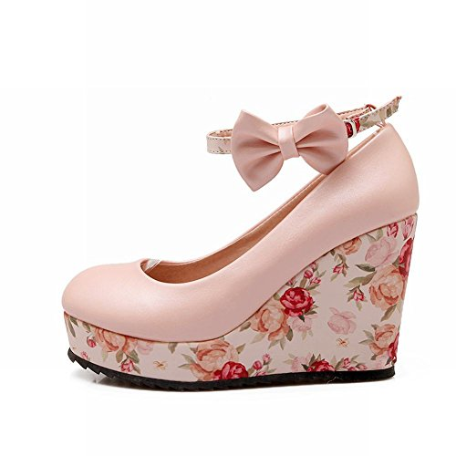 Latasa Womens Fashion Flowers Printed Bow Ankle-strap Platform Wedge Pumps Shoes Pink GJVgnFVfv