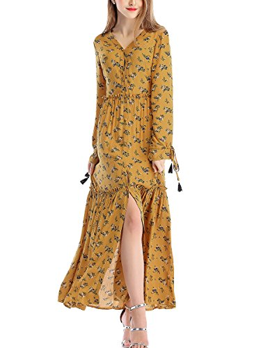 Stjubileens ST. Jubileens Women's Floral Print V Neck Long Sleeve Button Down Maxi Boho Casual Dress Yellow XL (Dress Maxi Tiered Print)