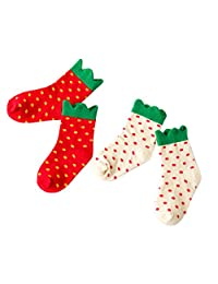 Happy Cherry Girls Children Strawberry Polka Dot Short Cotton Socks 2 Pack
