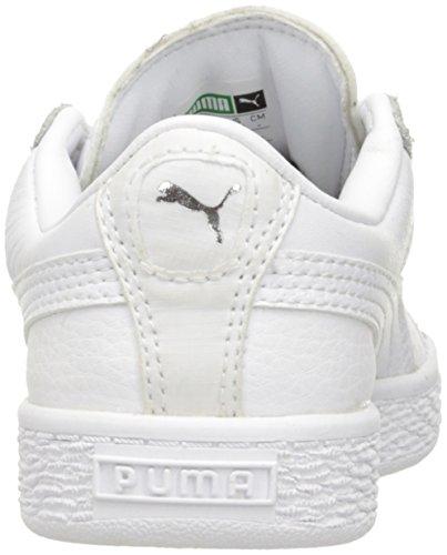 49f2a48d6e2fa PUMA Basket Classic L BTS PS Running Shoe, White Silver, 12 M US Little Kid