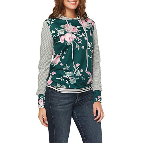 YANG-YI Claerance Womens O Neck Stripe Print Long Sleeve Causal Hooded Top Blouse Sweater by YANG-YI (Image #2)