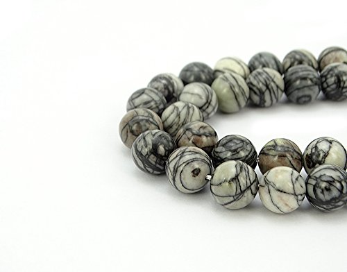 (jennysun2010 Natural Black Spider Web Jasper Gemstone 8mm Smooth Round Loose 50pcs Beads 1 Strand for Bracelet Necklace Earrings Jewelry Making Crafts Design Healing )