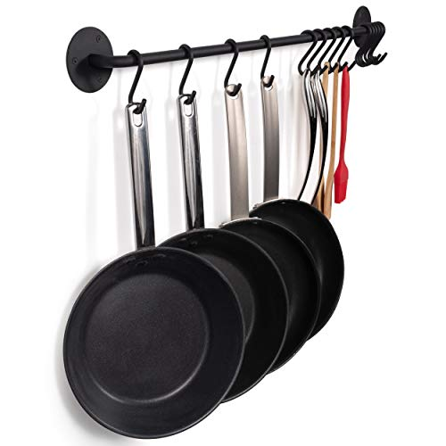 Wallniture Pot Pan Lid Rack Hanging Utensils Rail with Hooks Iron Black 33 Inch