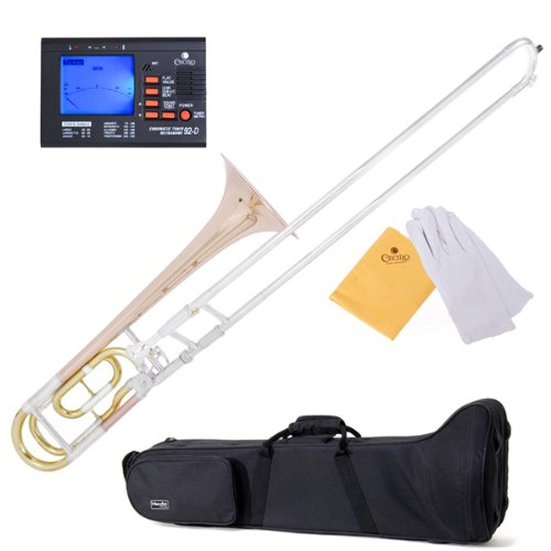 Mendini MTB-33 Intermediate B Flat Tenor Slide Trombone with F Trigger by Mendini