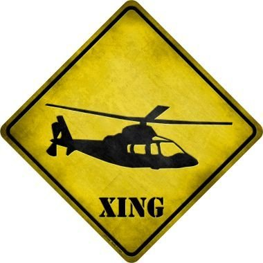Bargain World Helicopter Xing Novelty Metal Crossing Sign (Sticky Notes) -