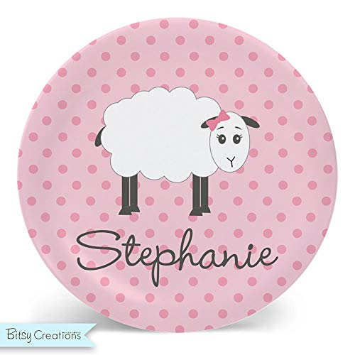 Sheep Plate - Pink Melamine Bowl or Plate Custom Personalized with Childs Name