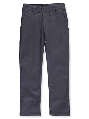 U.S. Polo Assn. Big Boys' Modern Fit Flat Front Stretch Twill Pant, Grey, 12 (Blended Twill Pants)
