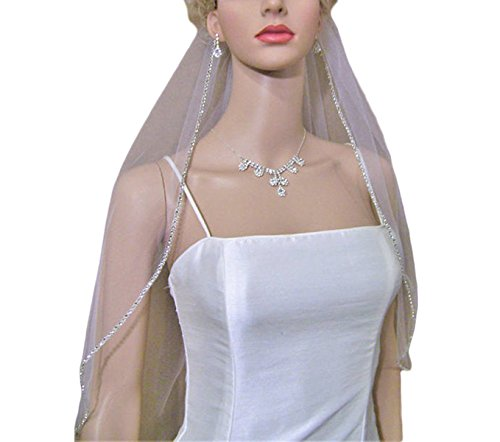 Udresses Soft Tulle Bridal Wedding Veil With Rhinestone Beaded Edge (Beaded Veil)