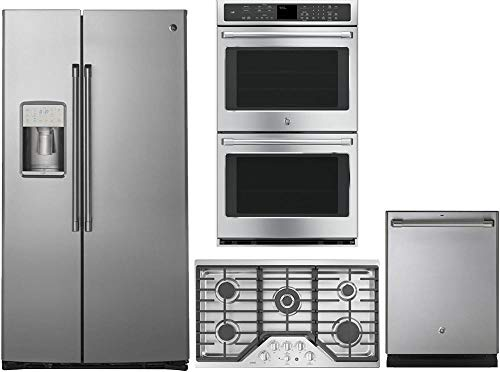 GE CAFE 4 Piece Stainless Steel Kitchen Package With CZS22MSKSS 36