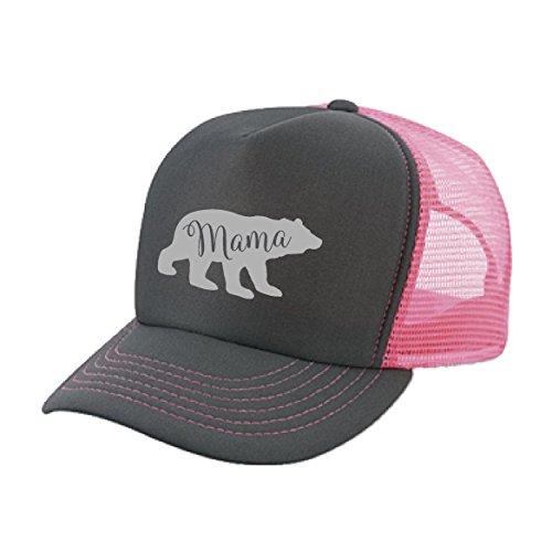 Silver Bear Design - Womens Mama bear Trucker HAT - Unisex size custom design hat (Pink/Charcoal-Silver Print)