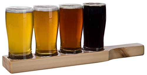 Beer Tasting Flight 9-ounce Clear Pilsner Wood Plank Glass Set, 4 glasses and 1 holster (Beer Tasting Flight Set)