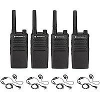 4 Pack of Motorola RMU2040 Radios with 4 Push To Talk (PTT) earpieces.