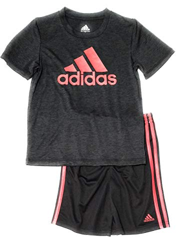 (adidas Boys 2pc Short Sleeve Athletic T Shirt and Shorts Set (6, Heathered Black/Red))
