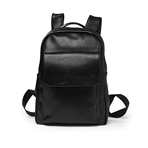 Men's Simple PU Backpack Waterproof Business Casual Backpack Student Bag Travel Handbag from Jasooo