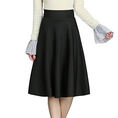 Femmes Sexy Taille lastique A-ligne Plisse Jupe t Lady lgant Maxi vas Jupes De Bureau,Blackno-pockets-2XL