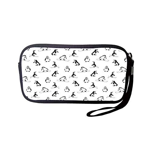 (iPrint Neoprene Wristlet Wallet Bag,Coin Pouch,Kids,Skiing Penguins on Snowboards Winter Sports Themed Pattern Fun Animal Bird with Scarf,Black White,for Women and Kids)