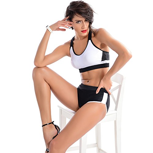 Women Sporty Two-Piece Swimwear Blackwhite Splicing Halt Bathing Suit Bikini Sets