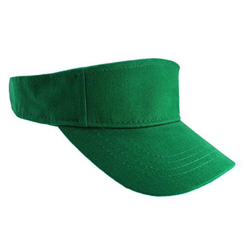 Enimay Sports Tennis Golf Sun Visor Hats Adjustable Velcro Plain Bright Colors Kelly Green