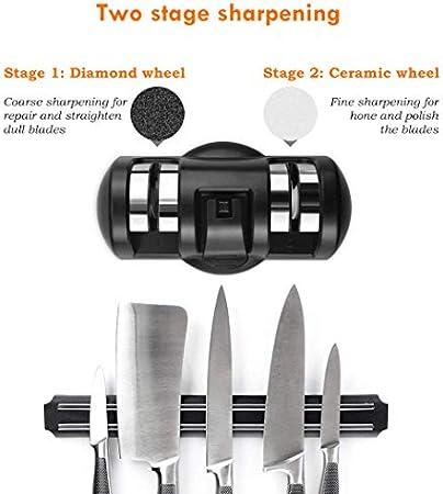 Mundocasa Afilador Cuchillos 2 etapas Pulido Grueso y Pulido Fino Diamante y Ceramica con Ventosa afilador de Cuchillos Profesionales Cuchillo Jamon Cuchillos Cocina Negro INOX