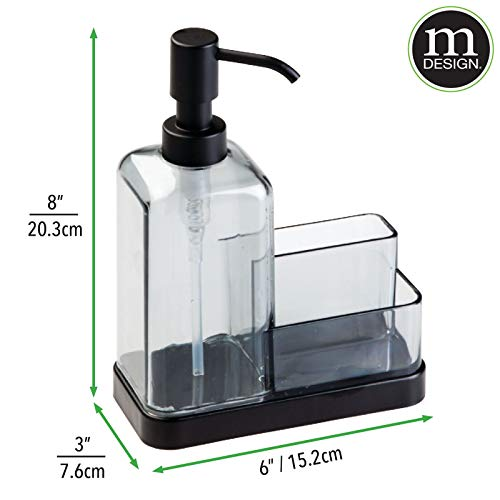 mDesign Modern Plastic Kitchen Sink Countertop Liquid Dish Soap Dispenser Pump Bottle Caddy with Storage Compartments - Holds and Stores Sponges, Scrubbers and Brushes - Graphite Gray/Matte Black