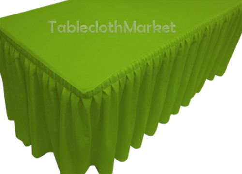 (5' Ft. Fitted Tablecloth Double Pleated Polyester Table Skirt Cover W/top Topper Apple Green)