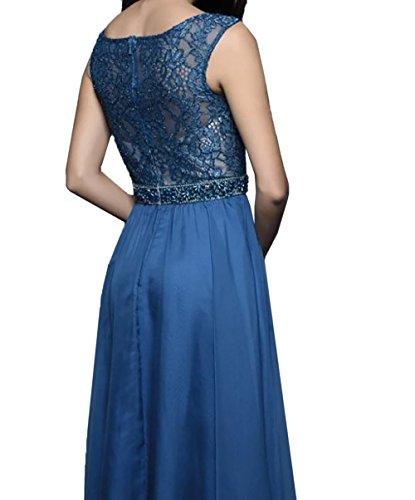 Festlichkleider Neu Chiffon Promkleider Brautmutterkleider 2018 Tinte Damen Langes Spitze Linie Charmant A Rock Blau Abendkleider qR0TUw