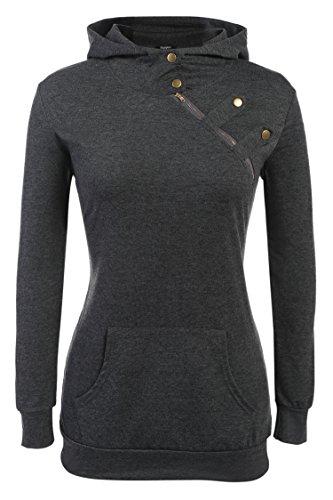 Zeagoo Women's Fashion Side Zip Funnel Neck Pullover Hoodie Sweatshirt Gray X-Large -