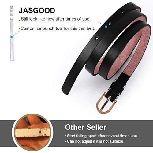 JasGood 4 Stück Damen Schmal Leder Gürtel PU, Extra Dünn Hüftgürtel, Gürtel Mehrfarbig Optional Stilvoll Taillengürtel für Jeans Kleid Dornschließe