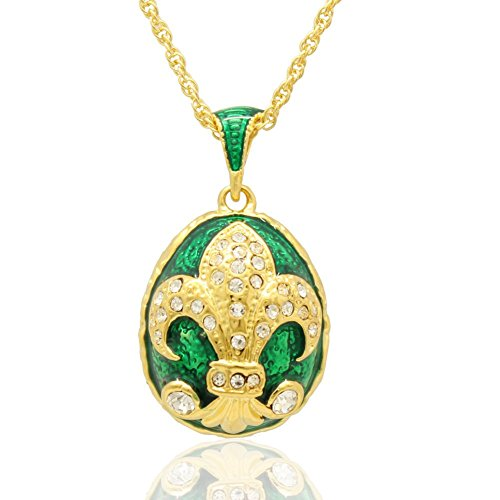 MYD Jewelry Big Enameled Handmade Fleur De Lis French Flower Russian Egg Faberge Style Pendants Necklaces (Gold Plated Black) (Green)