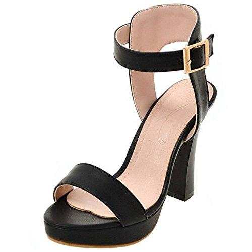 TAOFFEN Mujer Moda Punta Abierta Sandalias Tacon Ancho Tacon Alto Al Tobillo Verano Zapatos De Soiree Negro