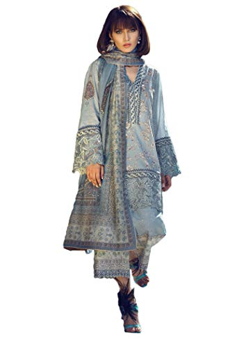 IshDeena Pakistani Designer Lawn & Chiffon Dresses for Women Ready to Wear Salwar Kameez (Small, Columbia Blue - Tena Durrani) (Best Pakistani Designers 2019)
