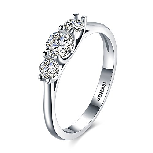Eternity Love Women Wedding Engagement Rings 18K Gold Plated Trio Cz...