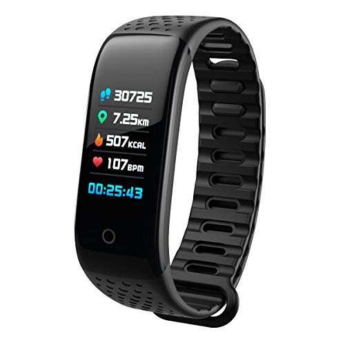 (CrazySale Fitness Tracker Activity Tracker Watch Smart Bracelet Band Track All-Day Activity Sleep Monitor Step Counter Calorie Counter Pedometer Heart Rate Monitor for Kids Women Men (Black))