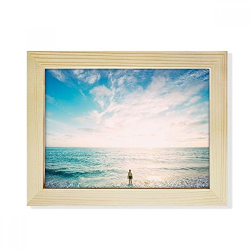 DIYTHINKER - Marco de fotos de madera con diseño de arena oceánica en la playa, 15,2 x 20,3 cm