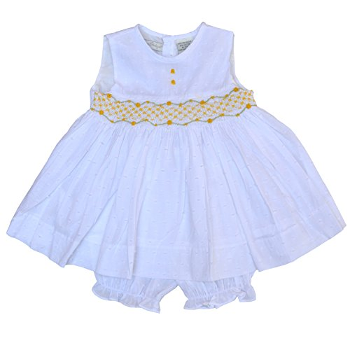 Carriage Boutique Girls Hand Smocked Dress With Bloomers (Baby) - Yellow Roses