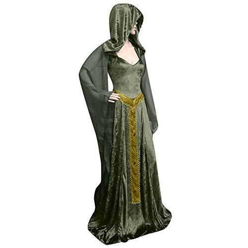 Halloween 110 Trainers (Aniywn Women's Halloween Hooded Cosplay Long Dress Loose Vintage Gothic Dress Floor Length Costumes)